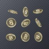 Ensemble de pièces de monnaie d'icônes sur le fond transparent Style 3D isométrique de connexion de Bitcoin Illustration du vecte Photo libre de droits