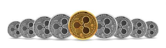 Ensemble de pièces de monnaie d'ondulation d'or et d'argent illustration stock