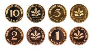 Ensemble de pièces de monnaie de marque allemande de l'Allemagne, d'isolement sur le blanc images libres de droits