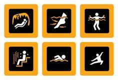 Ensemble de pictogrammes de Spa&Wellness sur le noir II illustration de vecteur