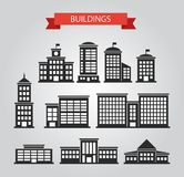 Ensemble de pictogrammes plats de bâtiments de conception Photos libres de droits