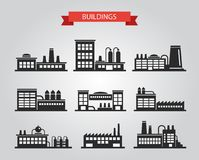 Ensemble de pictogrammes plats de bâtiments industriels de conception Images stock