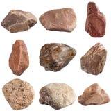 Ensemble de pierres d'isolement sur le fond blanc Image stock