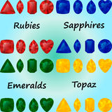 Ensemble de pierres gemmes : rubis, saphirs, émeraudes, topaze Images stock