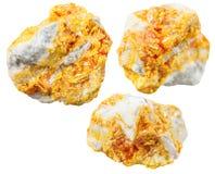 Ensemble de pierres minérales d'Orpiment sur la dolomite Images stock