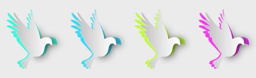 Ensemble de pigeons multicolores faits de papier avec des ombres illustration de vecteur