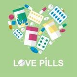 Ensemble de pilules au coeur de forme pour votre publicité Vecteur illustration de vecteur