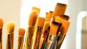 Ensemble de pinceaux en gros plan Concept de studio d'art photo libre de droits
