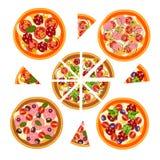 Ensemble de pizza avec différents ingrédients Photographie stock