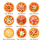 Ensemble de pizza italienne Illustration créatrice de vecteur Photos libres de droits