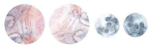 Ensemble de planètes d'aquarelle illustration de vecteur