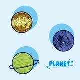 Ensemble de planètes de galaxie illustration de vecteur