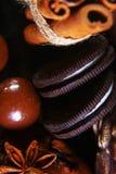 Ensemble de plan rapproché de biscuits croquants ronds de chocolat avec les grains de café, bâtons de la cannelle, étoile d'anis  photographie stock