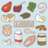 Ensemble de plan sain de nourritures de protéine Concept médical de soins de santé Illustration plate de conception de vecteur de Photo stock