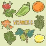 Ensemble de plan sain de nourritures de vitamine C Concept médical de soins de santé Illustration plate de conception de vecteur  Images libres de droits
