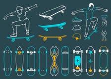 Ensemble de planches à roulettes, équipements de style de rue illustration de vecteur
