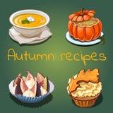 Ensemble de plats et de nourriture sur le thème de l'automne d'isolement sur le fond vert Illustration de plan rapproché de bande Illustration de Vecteur