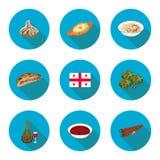 Ensemble de plats géorgiens d'icônes plates Photo stock