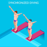 Ensemble de plongée synchronisé d'icône de jeux d'été 3D plongeur isométrique Sporting Competition Race Image libre de droits
