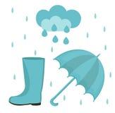 Ensemble de pluie de style d'appartement ou de bande dessinée Collection d'automne avec le parapluie, nuage, bottes en caoutchouc Image libre de droits