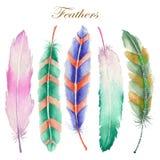 Ensemble de plumes d'aquarelle Image libre de droits