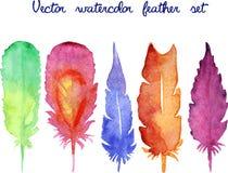 Ensemble de plumes tirées par la main d'aquarelle de vecteur image libre de droits