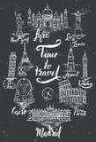Ensemble de point de repère avec le lettrage d'Âgrâ, le Caire, Rio de Janeiro, Pise, Madrid, New York, Moscou, Paris, Rome, Londr illustration libre de droits
