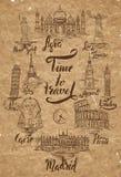 Ensemble de point de repère avec le lettrage d'Âgrâ, le Caire, Rio de Janeiro, Pise, Madrid, New York, Moscou, Paris, Rome, Londr illustration stock