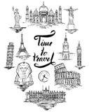 Ensemble de point de repère d'Âgrâ, le Caire, Rio de Janeiro, Pise, Madrid, New York, Moscou, Paris, Rome, Londres illustration stock