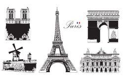Ensemble de points de repère de Paris illustration stock