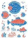 Ensemble de poissons dans le style naïf de lino Image libre de droits