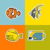 Ensemble de poissons stylisés Images stock