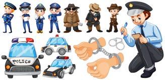 Ensemble de policiers et de voiture de police illustration libre de droits
