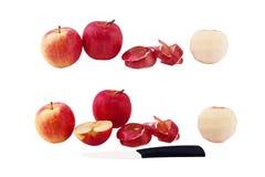 Ensemble de pommes de photos, peau épluchée de pomme de la pomme, pomme coupée, Image libre de droits