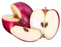 Ensemble de pommes rouges d'isolement sur le fond blanc Photos libres de droits