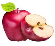 Ensemble de pommes rouges d'isolement sur le fond blanc Images libres de droits