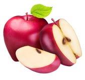 Ensemble de pommes rouges d'isolement sur le fond blanc Photographie stock