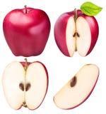 Ensemble de pommes rouges d'isolement sur le fond blanc Photographie stock libre de droits