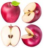 Ensemble de pommes rouges d'isolement sur le fond blanc Image libre de droits