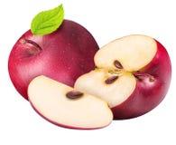 Ensemble de pommes rouges d'isolement sur le fond blanc Image stock