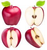 Ensemble de pommes rouges d'isolement sur le fond blanc Images stock