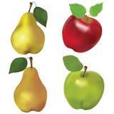 Ensemble de pommes rouges et vertes et de poires jaunes Photographie stock