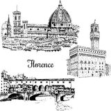 Ensemble de pont de Florence Ponte Vecchio dedans, l'Italie Croquis tiré par la main de vecteur Photo stock