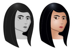 Ensemble de portrait de couleur et de gris de jeune femme américaine indienne Image stock