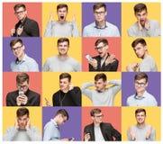 Ensemble de portraits du ` s de jeune homme avec différentes émotions images stock
