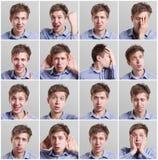 Ensemble de portraits du ` s de jeune homme avec différentes émotions Image libre de droits