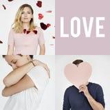 Ensemble de portraits de personnes avec des concepts d'amour Photographie stock