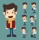 Ensemble de poses de caractères d'homme d'affaires illustration de vecteur