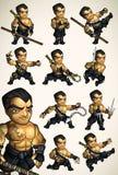 Ensemble de 11 poses de Ninja sans chemise Photographie stock libre de droits