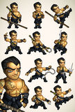 Ensemble de 11 poses de Ninja sans chemise illustration stock